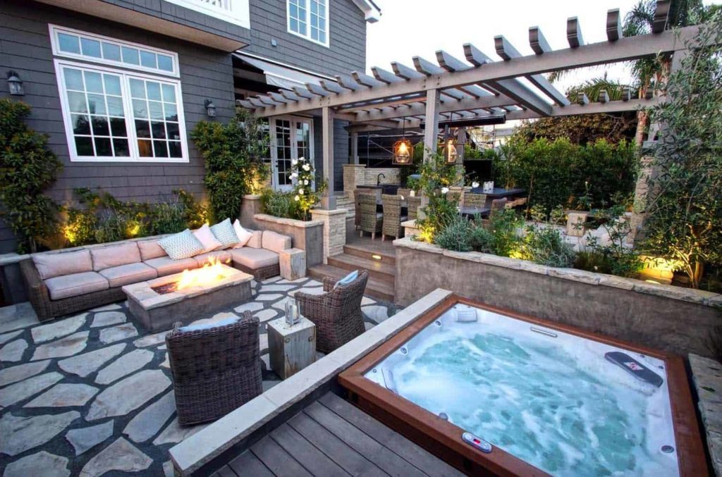 hot tub patio design ideas | backyard makeover inspo | best hot tubs Wichita KS Dave's Pool Store